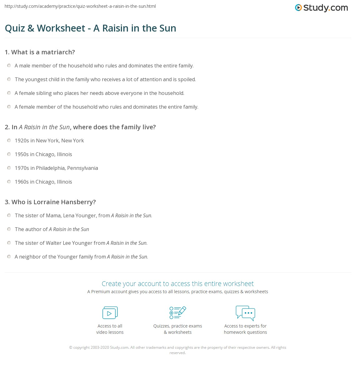 quiz worksheet a raisin in the sun. Black Bedroom Furniture Sets. Home Design Ideas