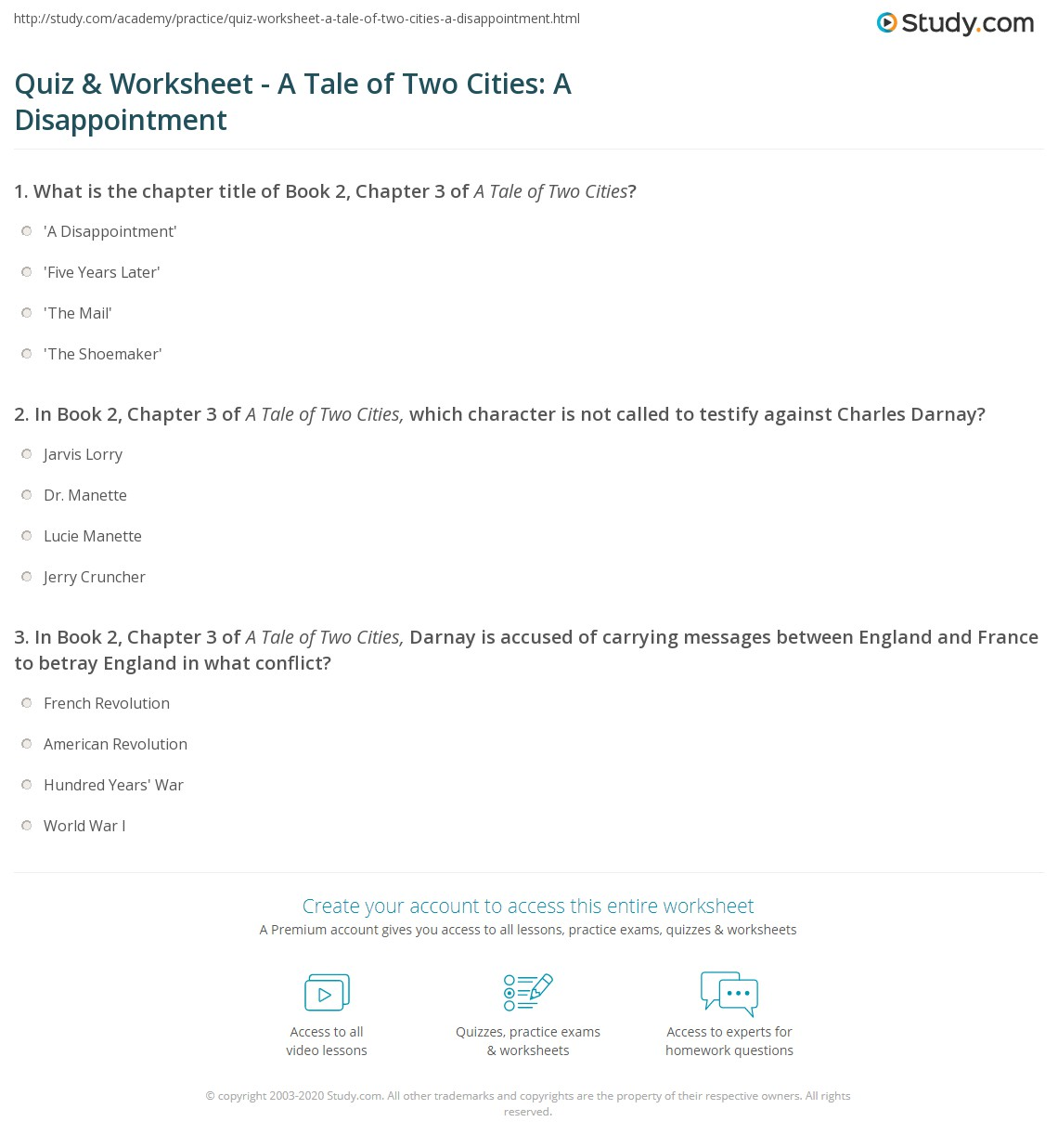 Quiz & Worksheet - A Tale of Two Cities: A Disappointment