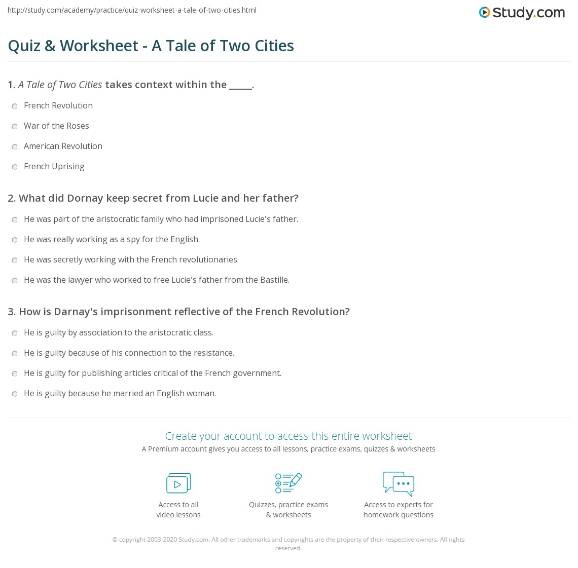 quiz worksheet a tale of two cities com print a tale of two cities dickens novel of the french revolution worksheet