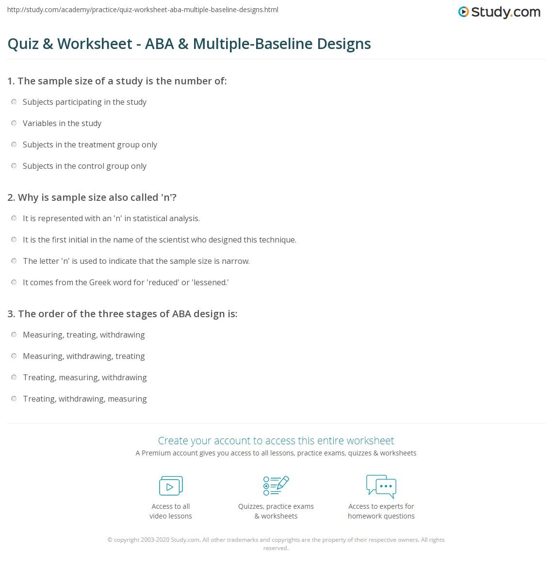 Quiz worksheet aba multiple baseline designs study print small n designs aba multiple baseline designs worksheet 1betcityfo Images