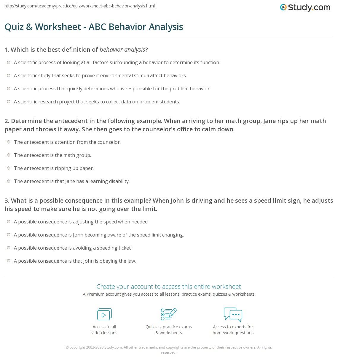 Quiz & Worksheet - ABC Behavior Analysis | Study.com