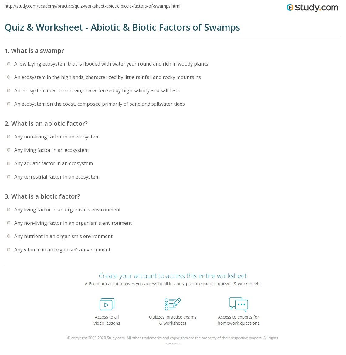 Worksheets Abiotic And Biotic Factors Worksheet quiz worksheet abiotic biotic factors of swamps study com print worksheet
