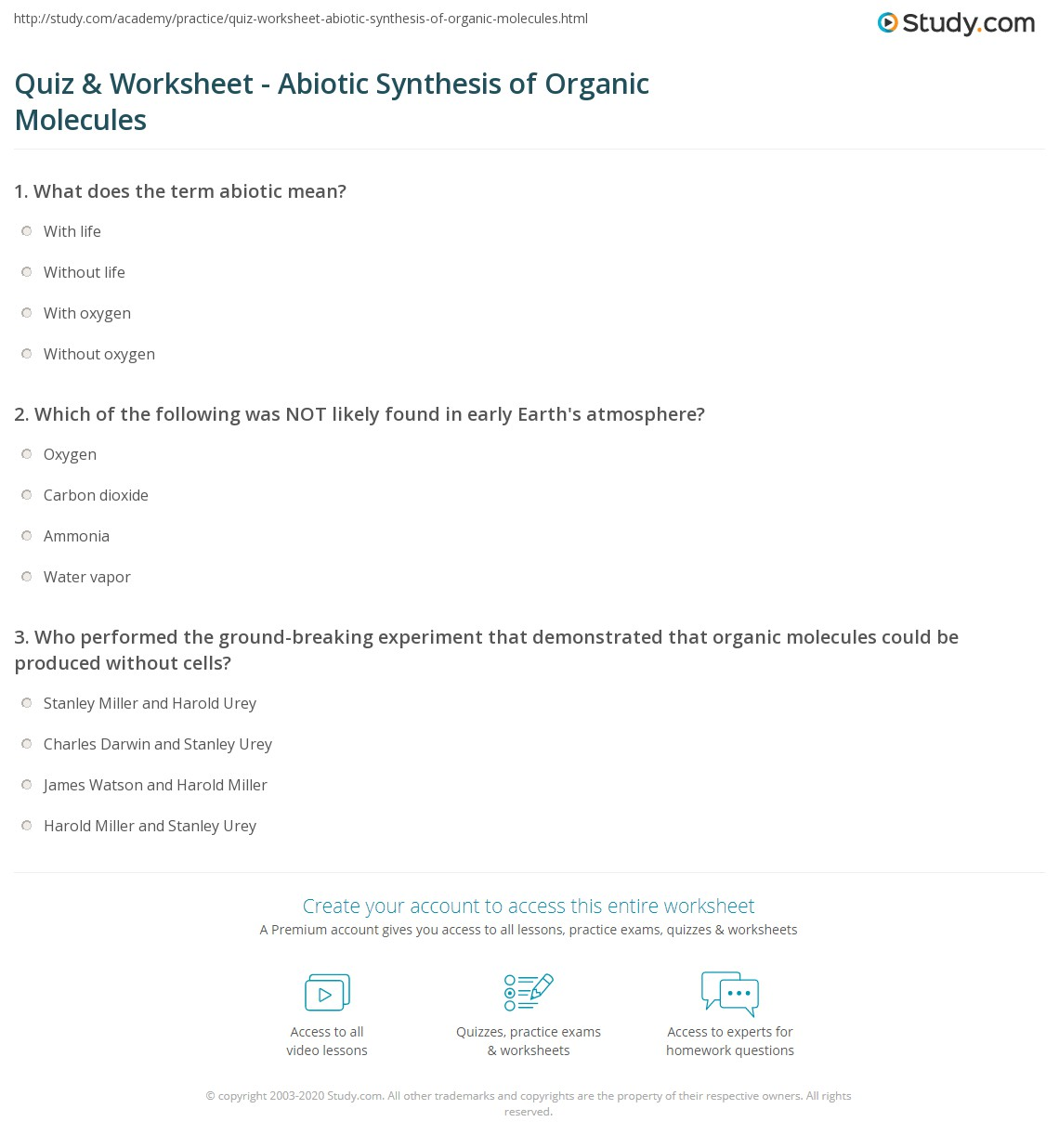 Quiz Worksheet Abiotic Synthesis Of Organic Molecules Study