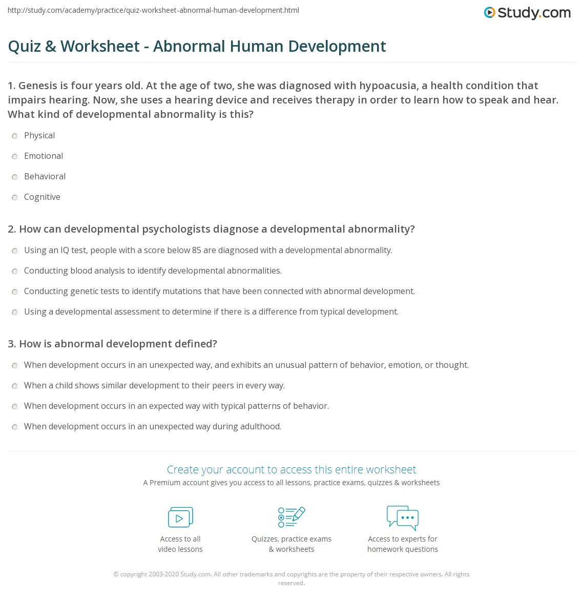 Quiz & Worksheet - Abnormal Human Development | Study.com