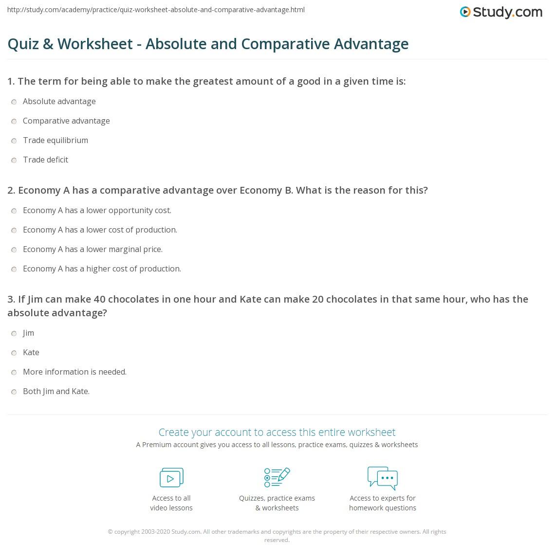 worksheet Comparative Advantage Worksheet quiz worksheet absolute and comparative advantage study com print vs in microeconomics worksheet