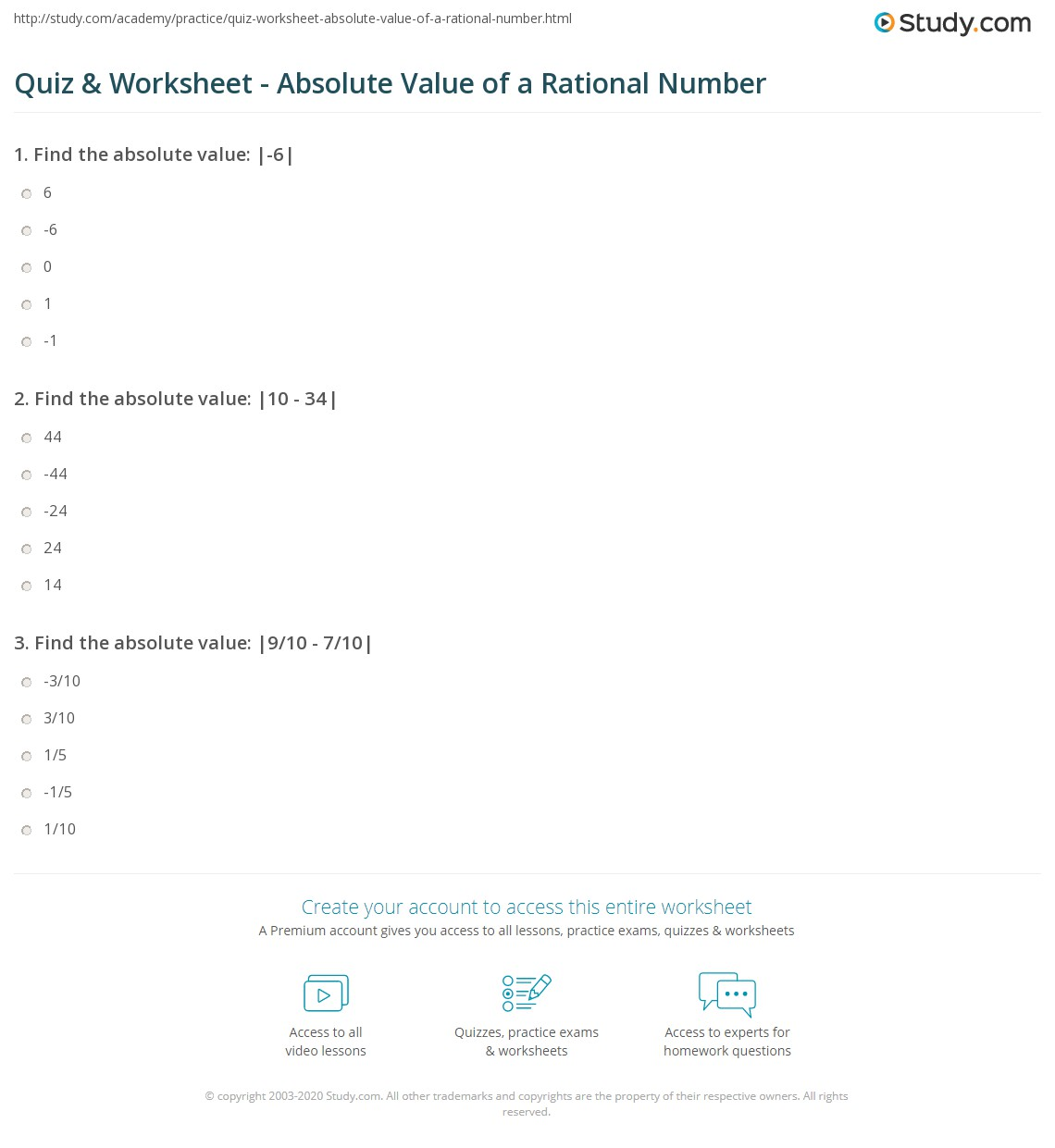 Quiz Worksheet Absolute Value Of A Rational Number Study