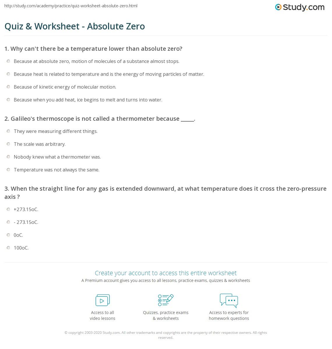 quiz worksheet absolute zero. Black Bedroom Furniture Sets. Home Design Ideas