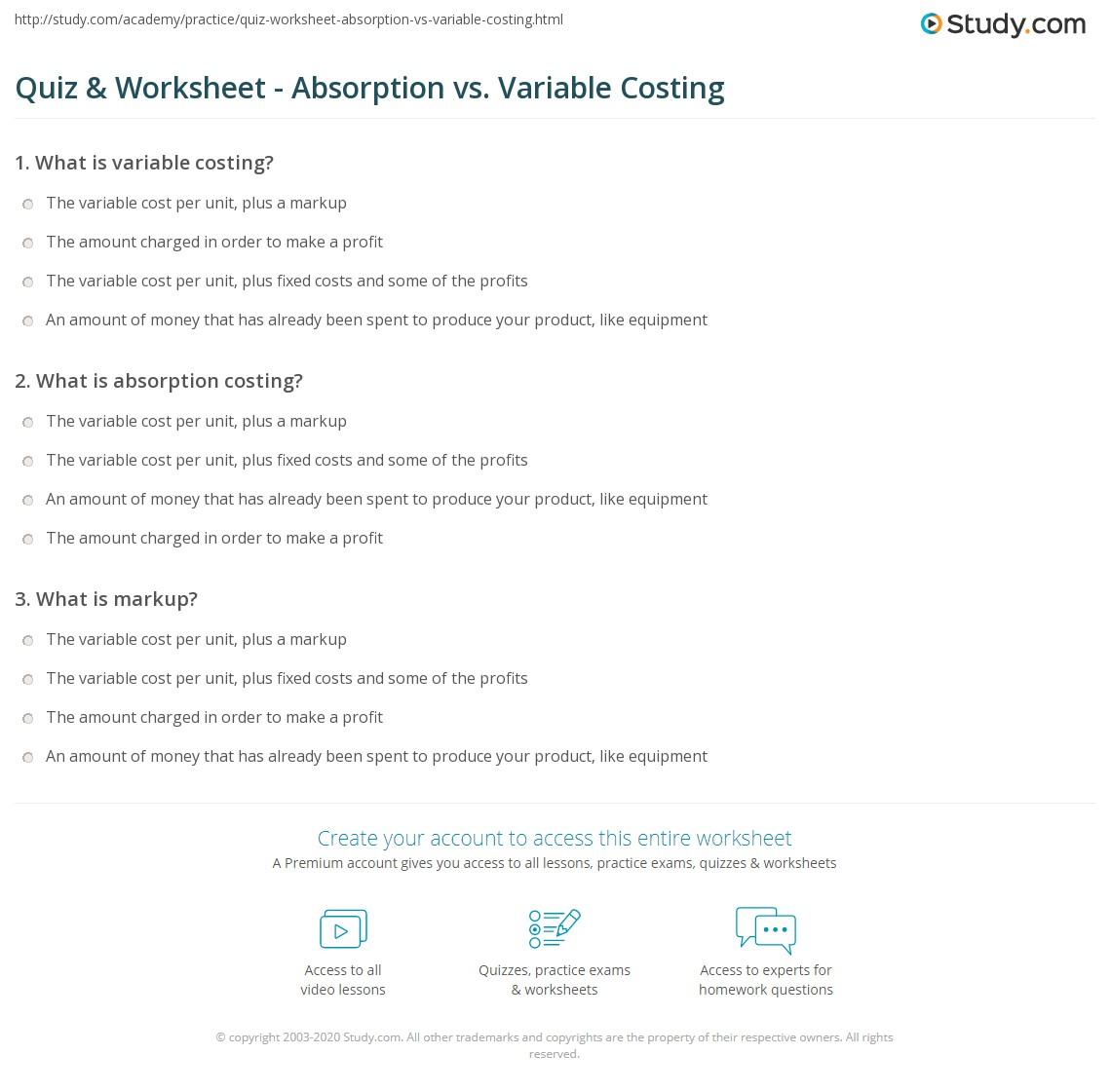 quiz worksheet absorption vs variable costing. Black Bedroom Furniture Sets. Home Design Ideas