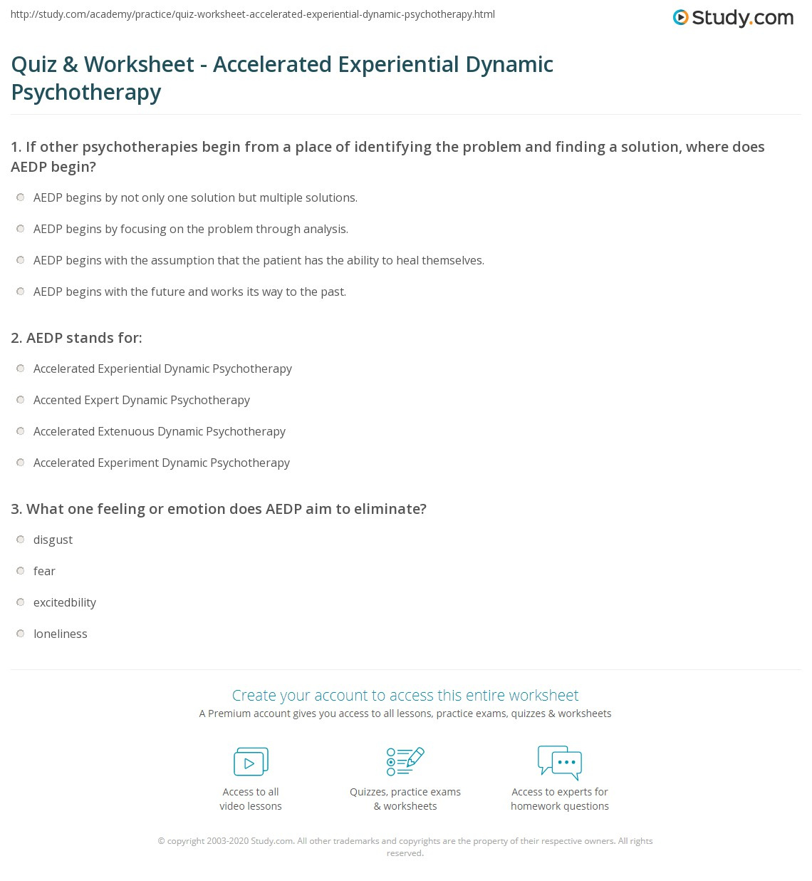 Quiz Worksheet Accelerated Experiential Dynamic