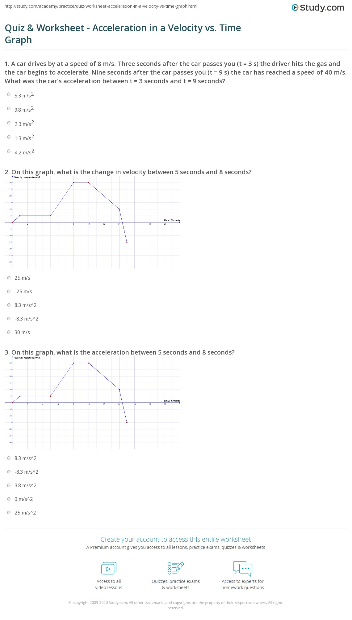 quiz worksheet acceleration in a velocity vs time graph. Black Bedroom Furniture Sets. Home Design Ideas