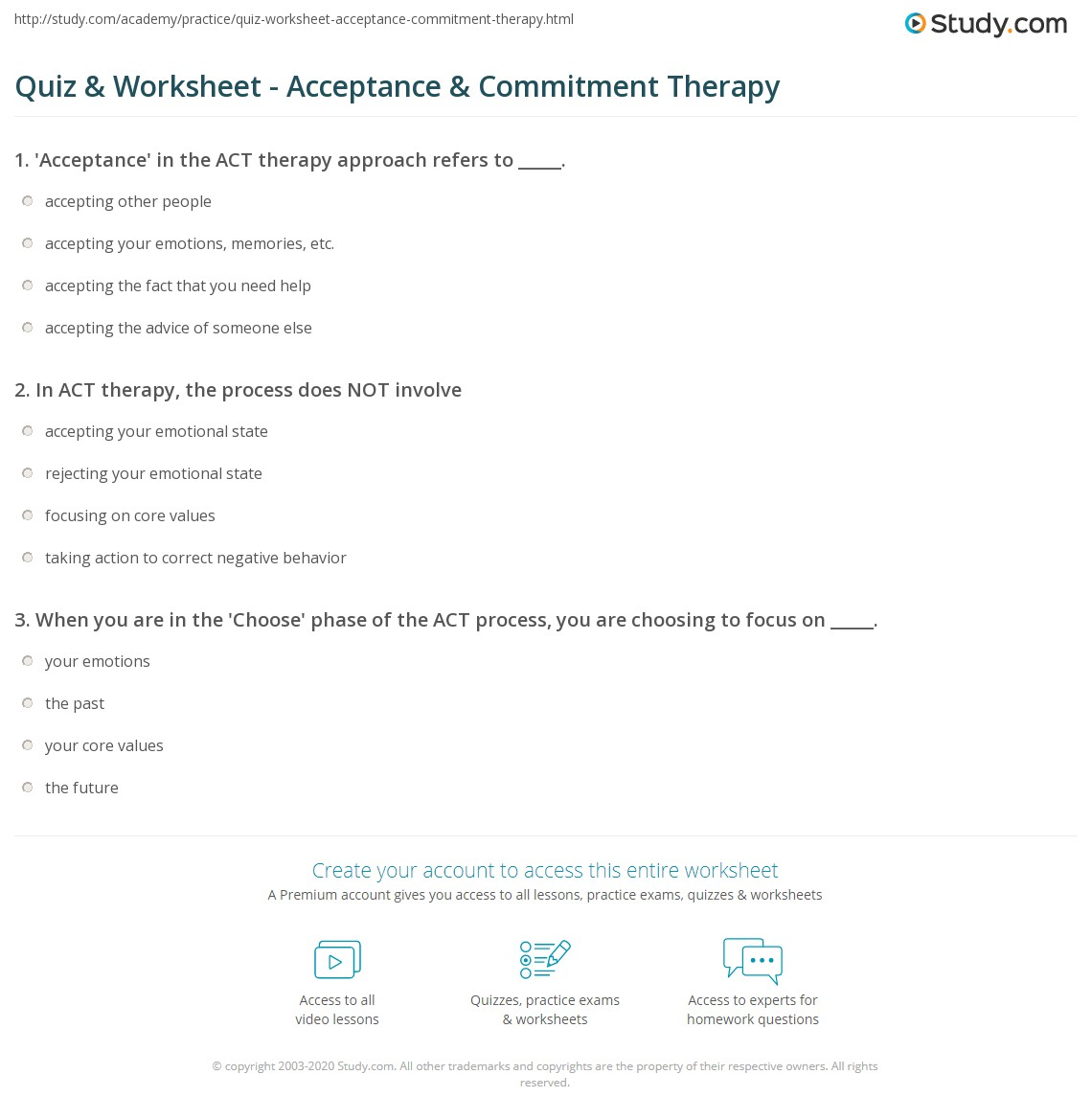 Quiz Worksheet Acceptance Commitment Therapy Study Com