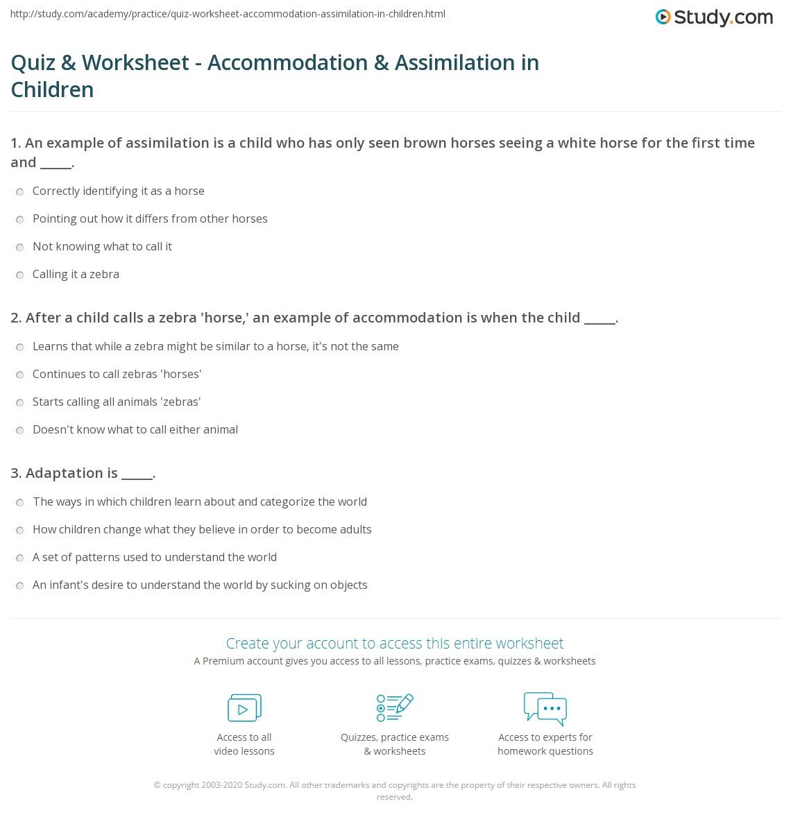 Quiz Worksheet Accommodation Assimilation In Children Study