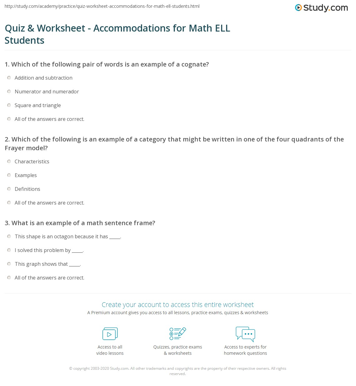 Worksheet Ell Math quiz worksheet accommodations for math ell students study com print adaptations modifications in worksheet