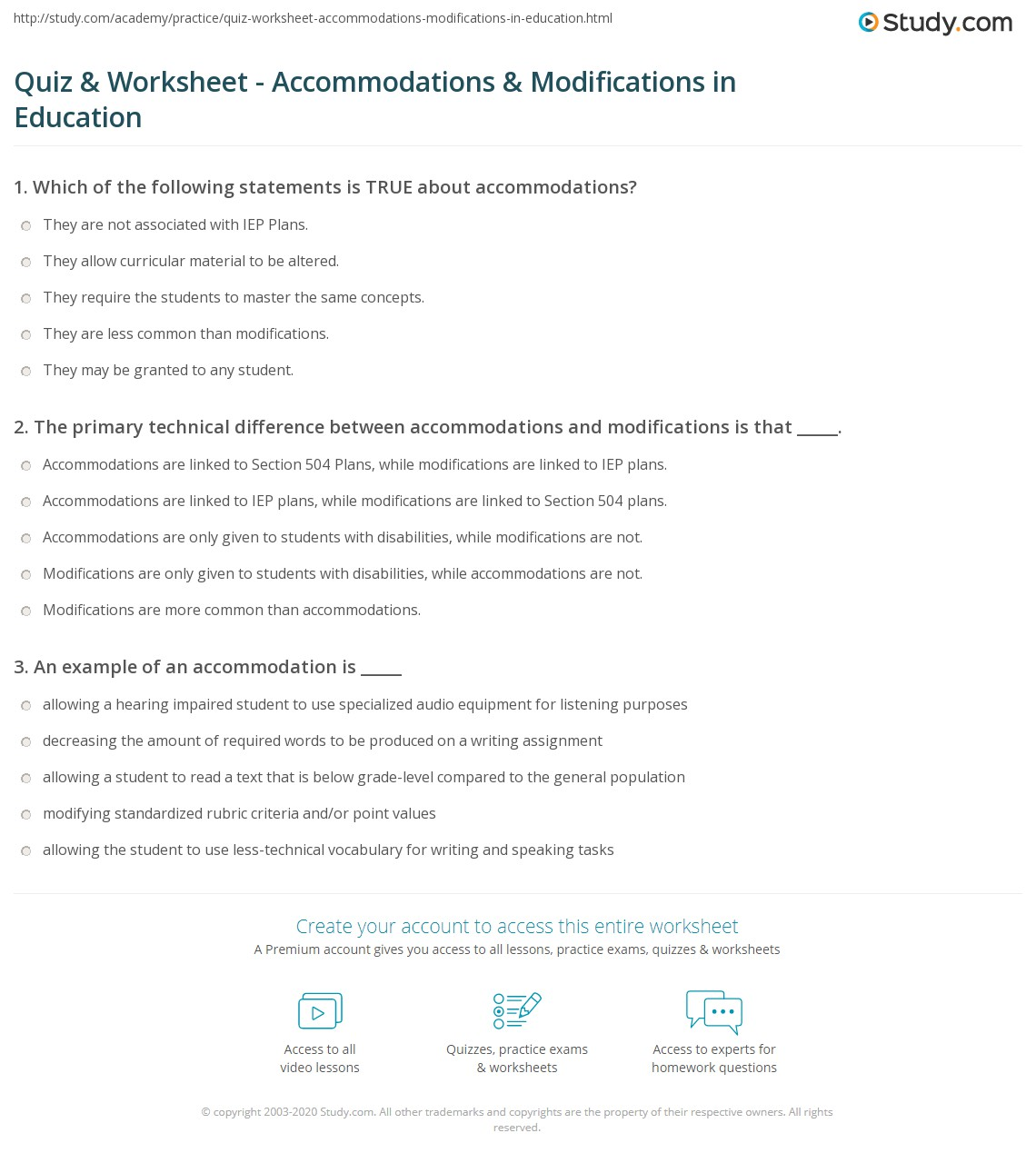 The Difference Between Accommodations And Modifications >> Quiz Worksheet Accommodations Modifications In Education