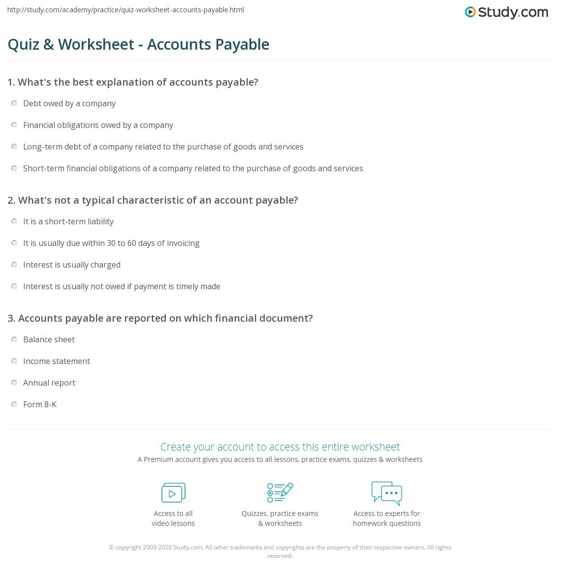 Quiz Worksheet Accounts Payable – Financial Maths Worksheets