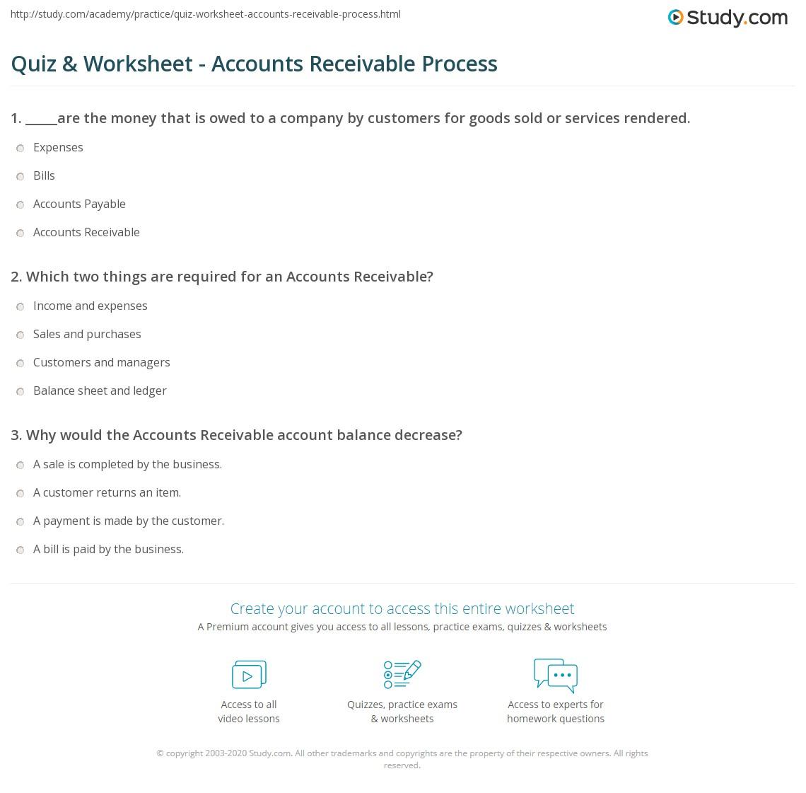 quiz worksheet accounts receivable process study com