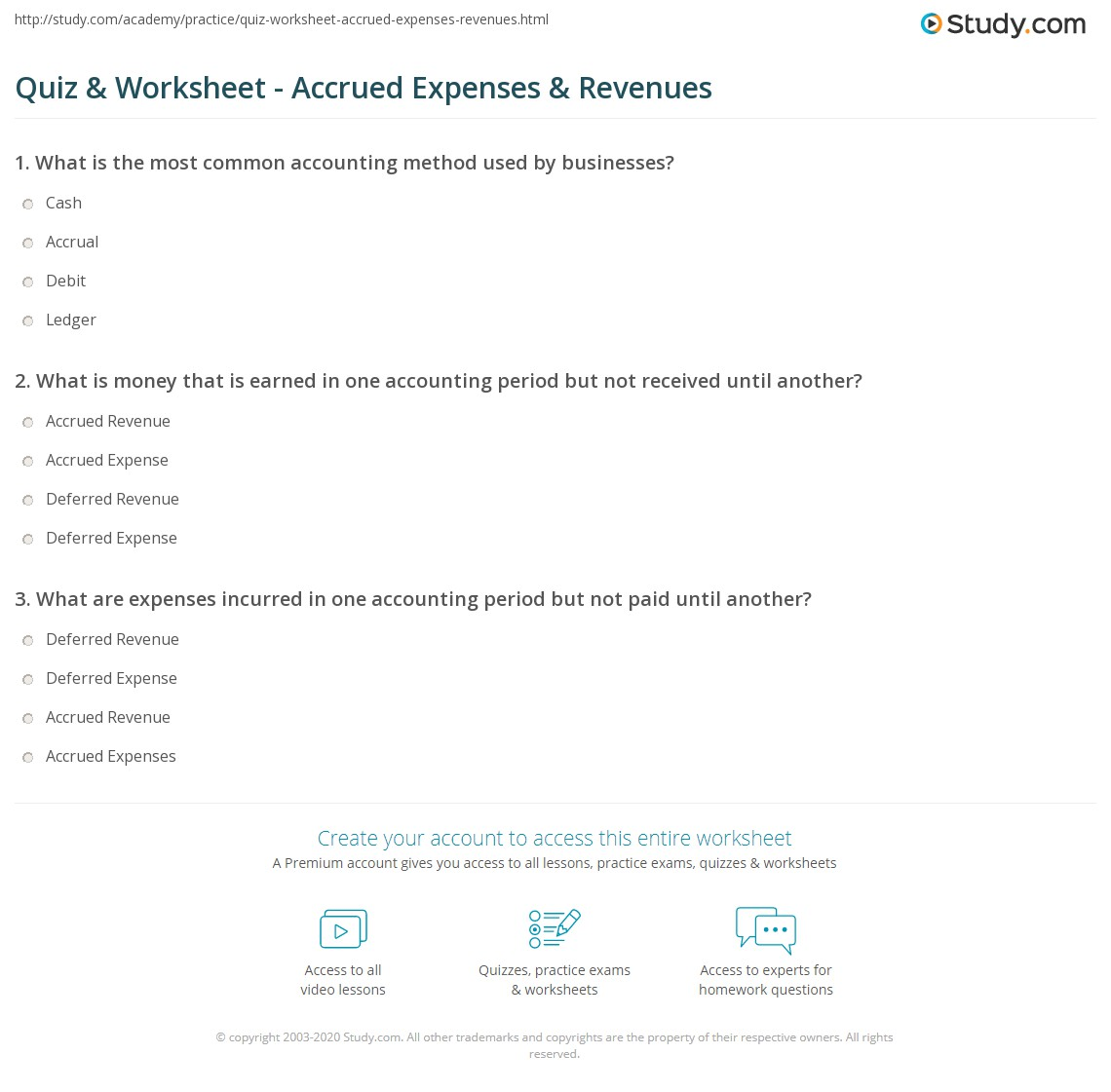 quiz & worksheet - accrued expenses & revenues | study