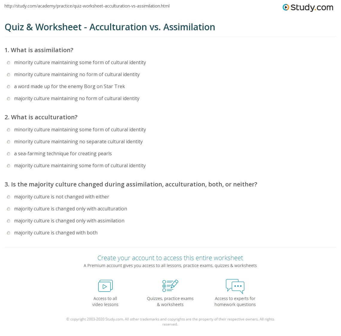 Quiz Worksheet Acculturation Vs Assimilation Study