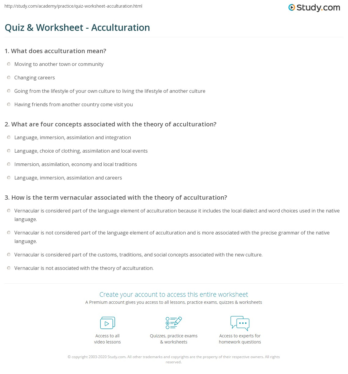 Quiz Worksheet Acculturation Study