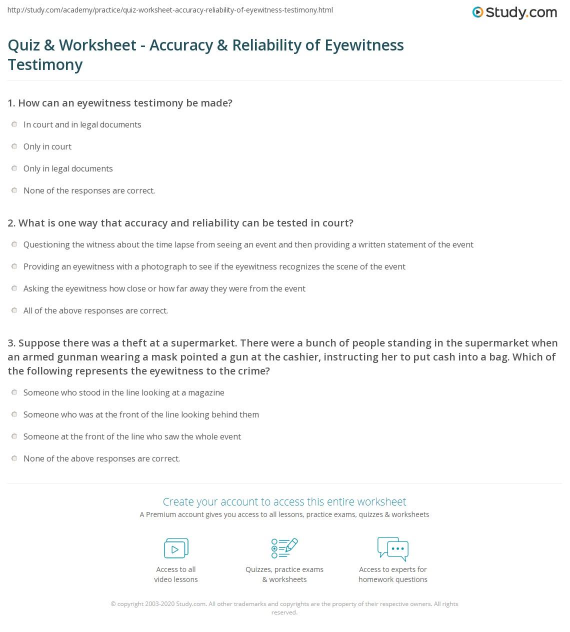 Quiz Worksheet Accuracy Reliability Of Eyewitness Testimony