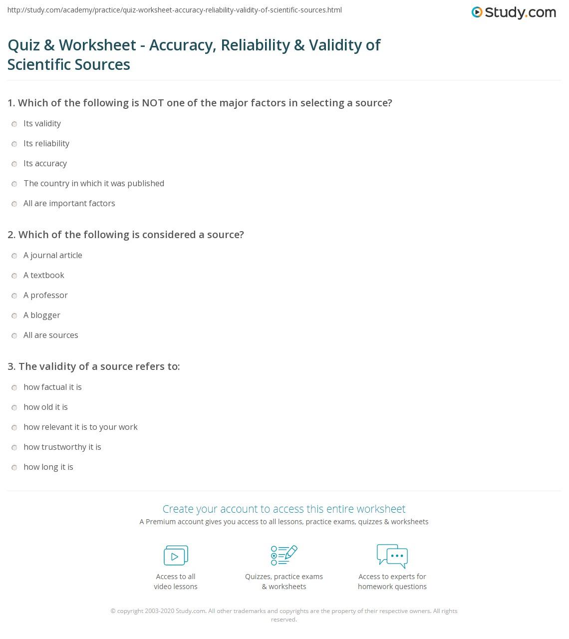 Quiz Worksheet Accuracy Reliability Validity Of Scientific