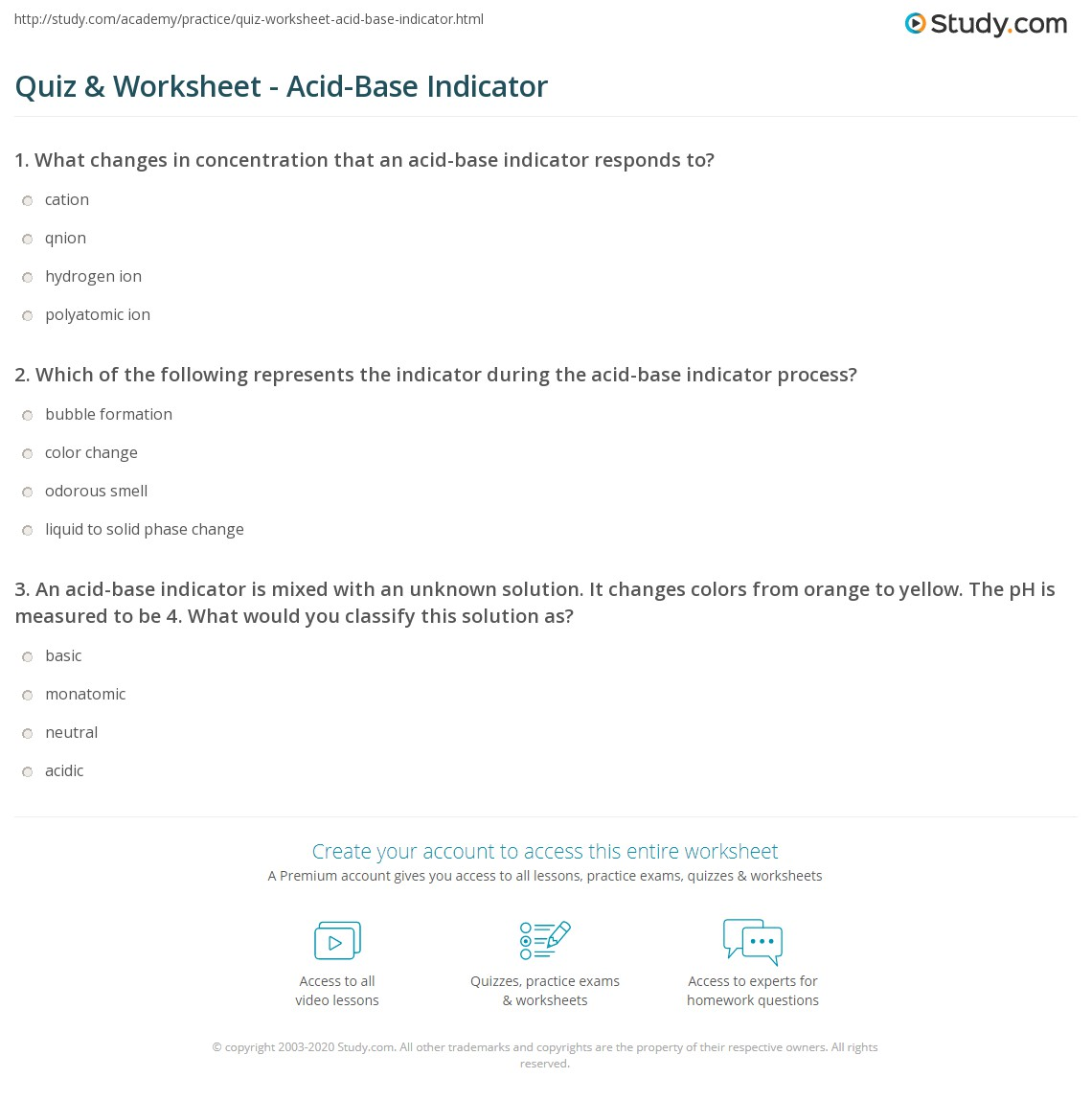 Worksheets Acid Bases Worksheet quiz worksheet acid base indicator study com print definition concept worksheet
