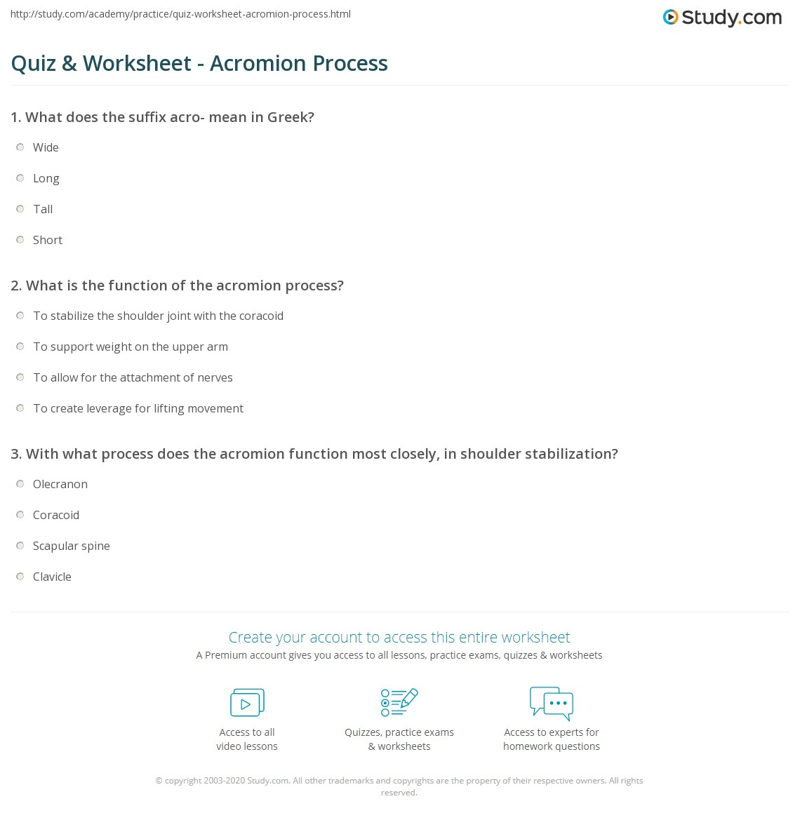 Quiz Worksheet Acromion Process Study