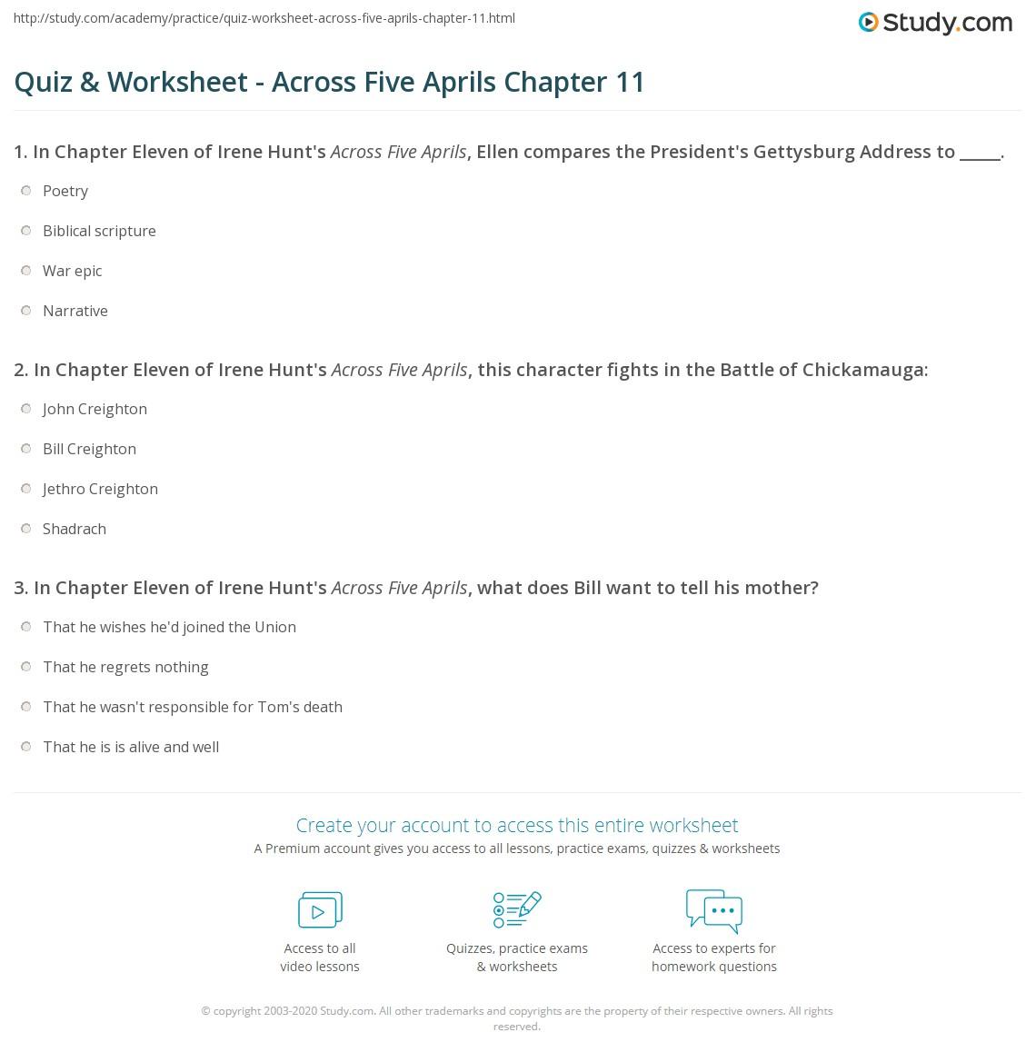 Worksheets Gettysburg Address Worksheet quiz worksheet across five aprils chapter 11 study com print summary worksheet