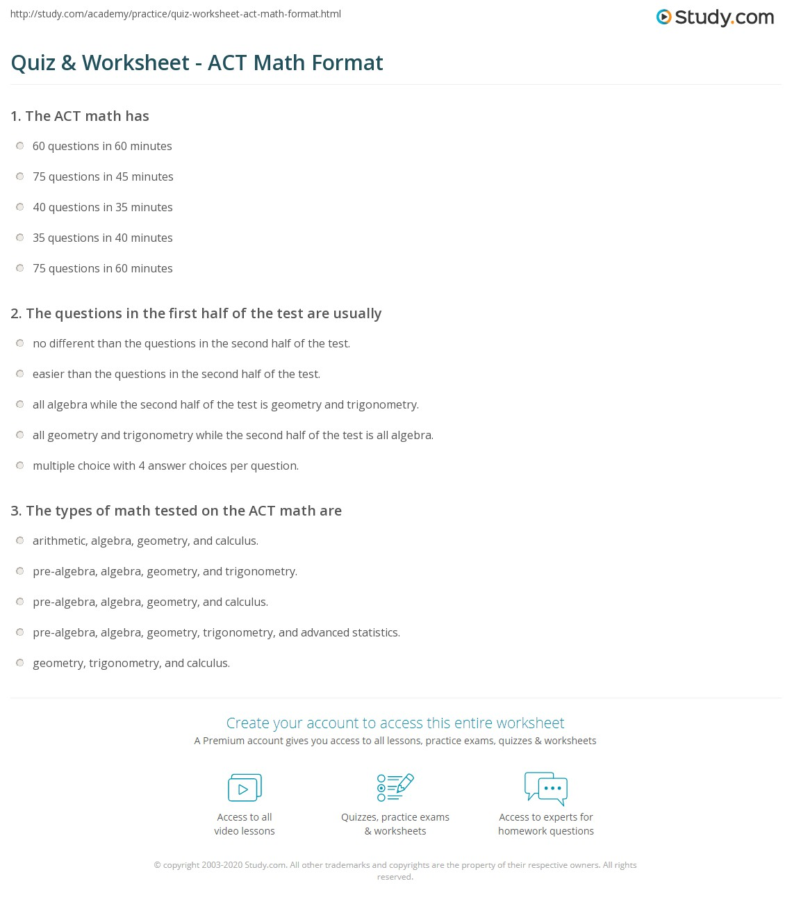 Quiz & Worksheet - ACT Math Format | Study.com