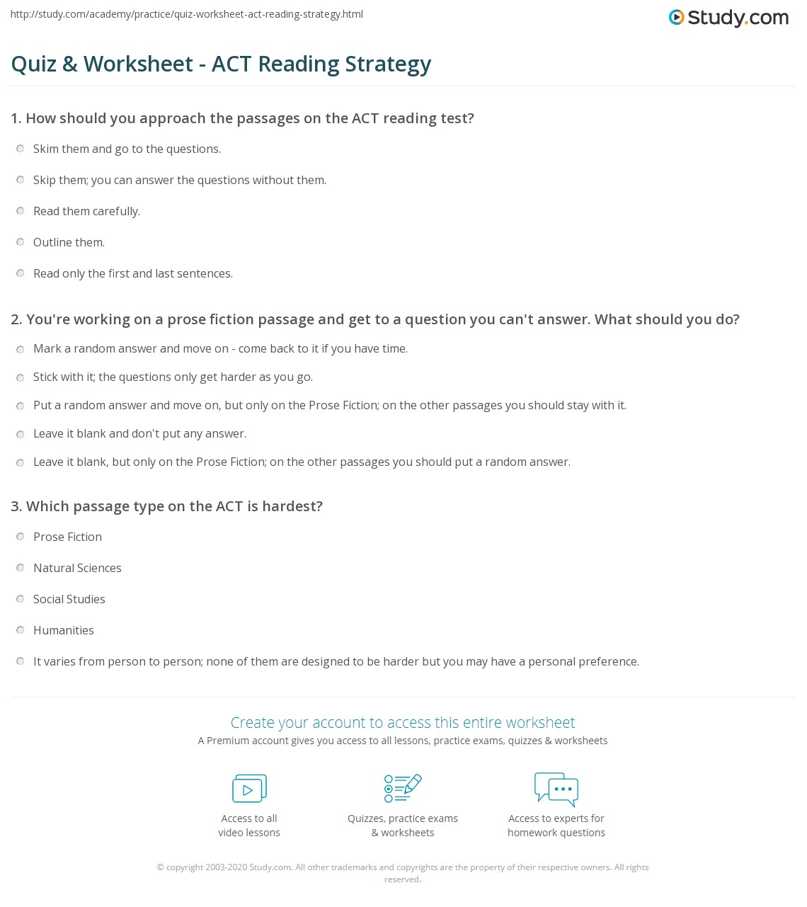Quiz Worksheet Act Reading Strategy Study Com