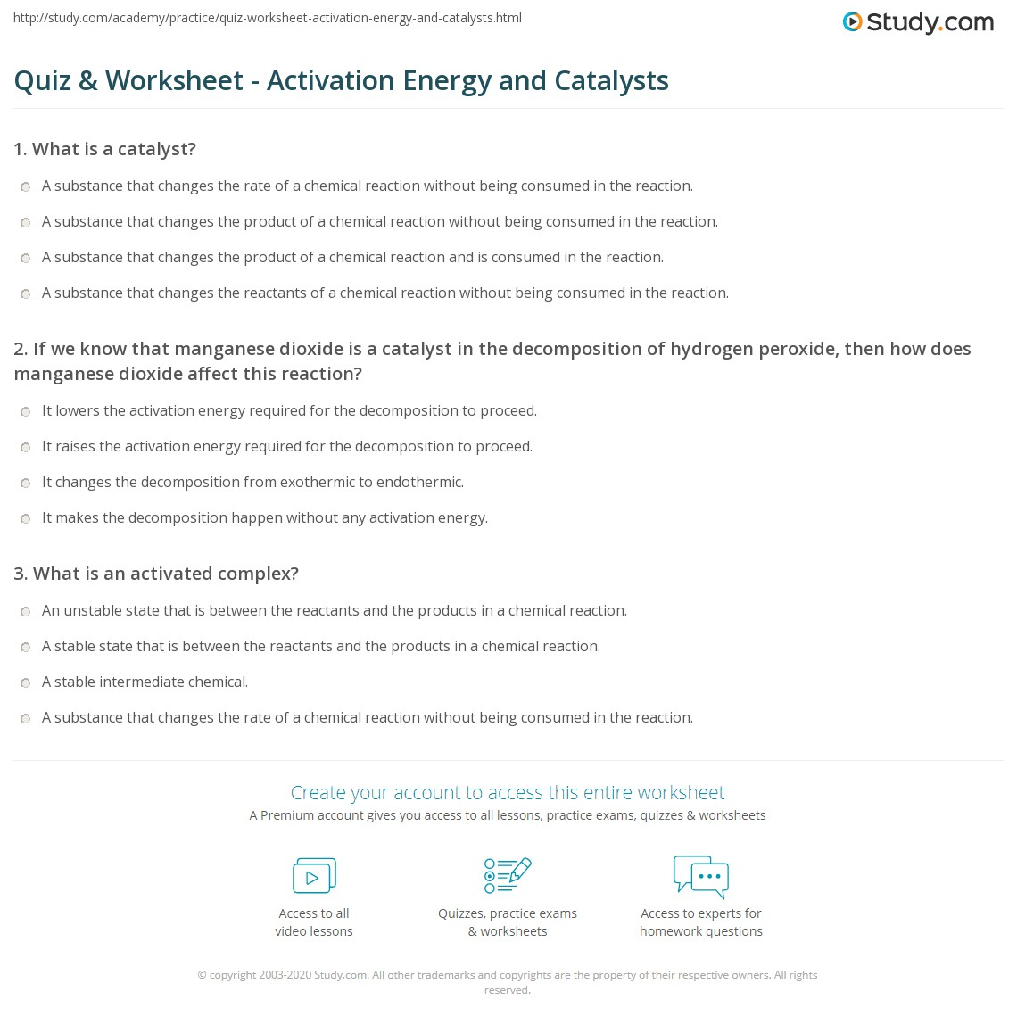 Quiz & Worksheet - Activation Energy and Catalysts | Study.com