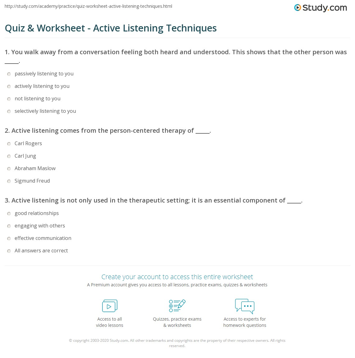 Active Listening Skills Worksheets Worksheets For School - Studioxcess