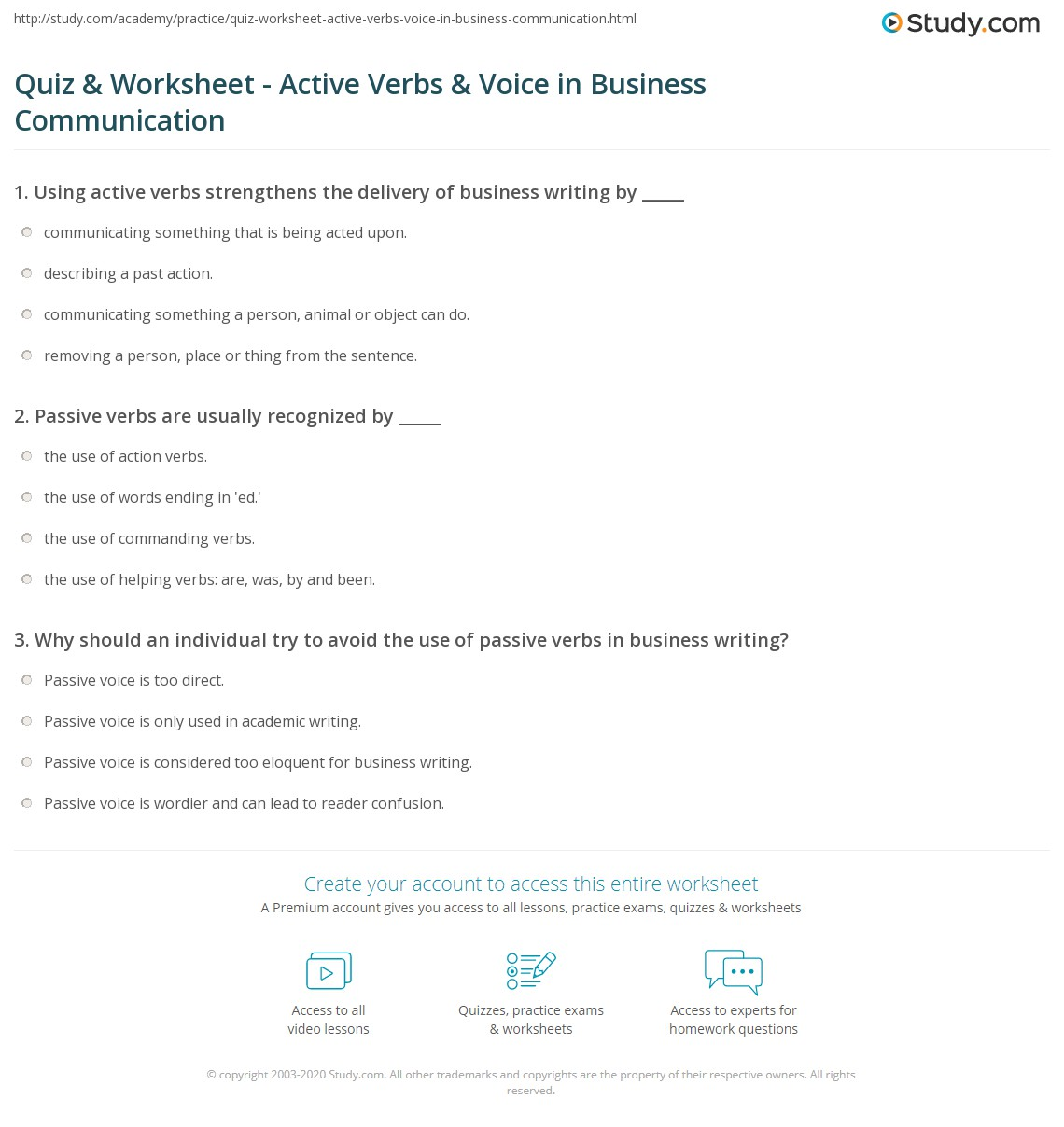 Print Using Active Verbs And Active Voice In Business Communication  Worksheet  Active Verbs