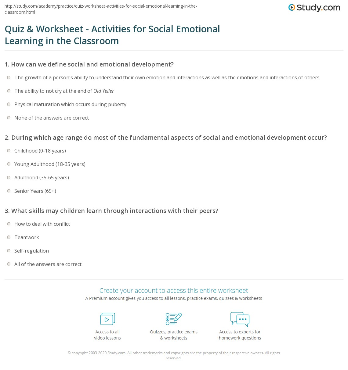 Quiz & Worksheet - Activities for Social Emotional Learning in the ...