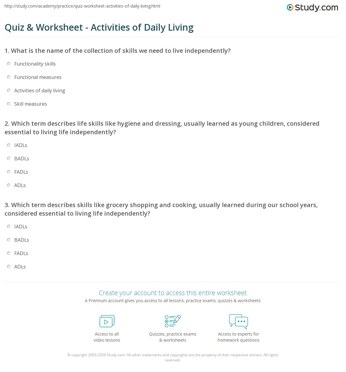 Worksheets Free Independent Living Skills Worksheets quiz worksheet activities of daily living study com which term describes life skills like hygiene and dressing usually learned as young children considered essential to independen