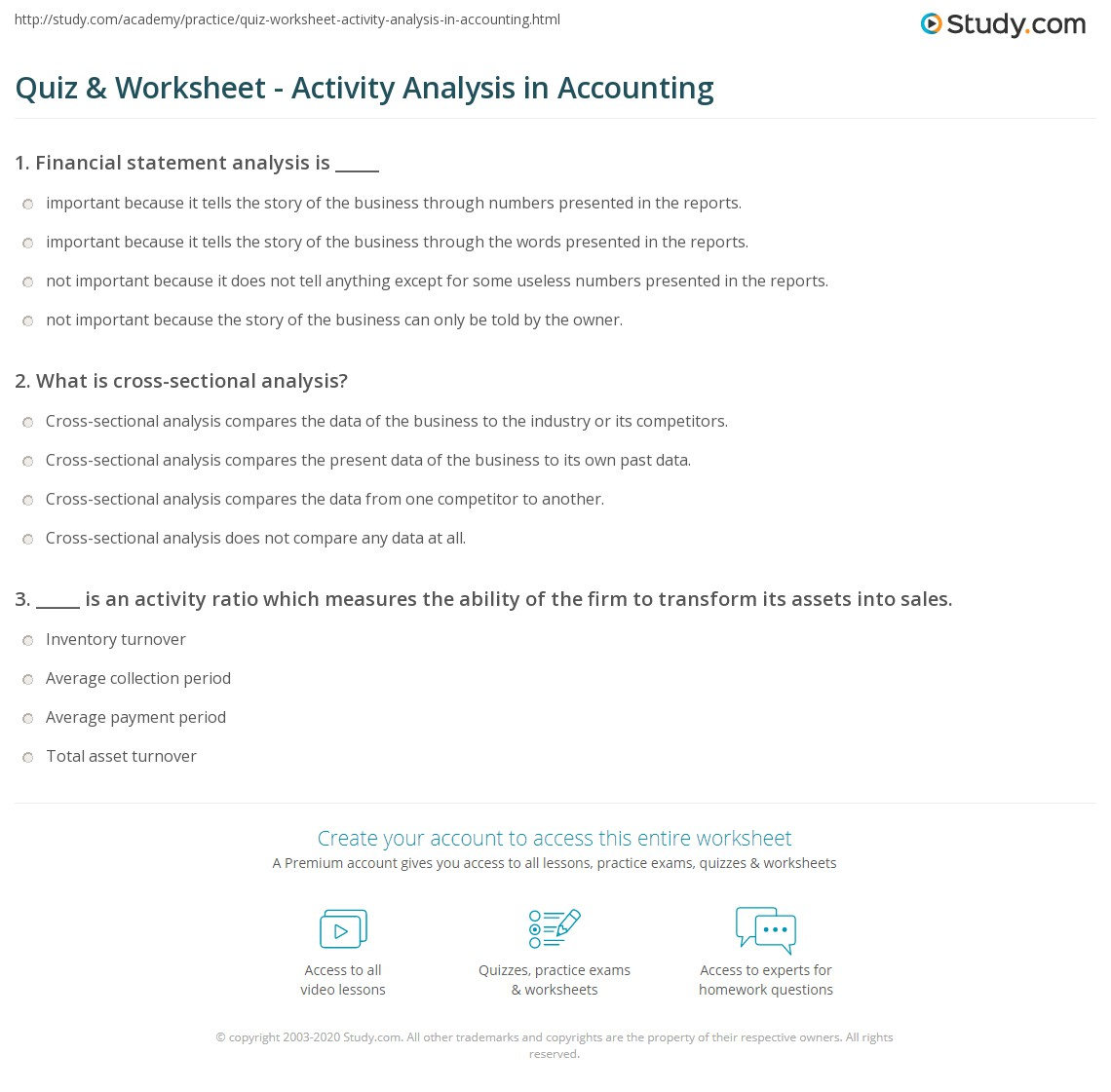 quiz worksheet activity analysis in accounting. Black Bedroom Furniture Sets. Home Design Ideas