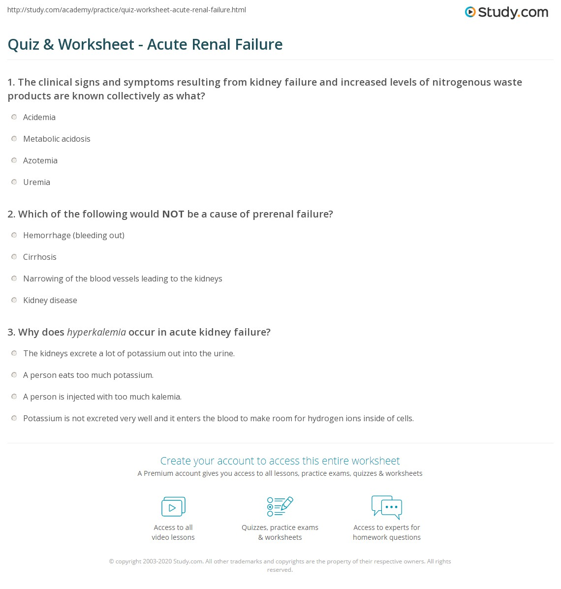 Quiz & Worksheet - Acute Renal Failure | Study com