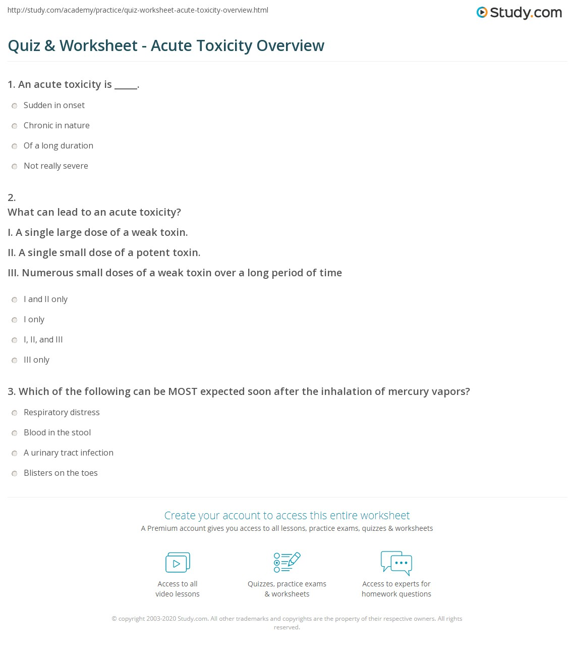 quiz worksheet acute toxicity overview study com