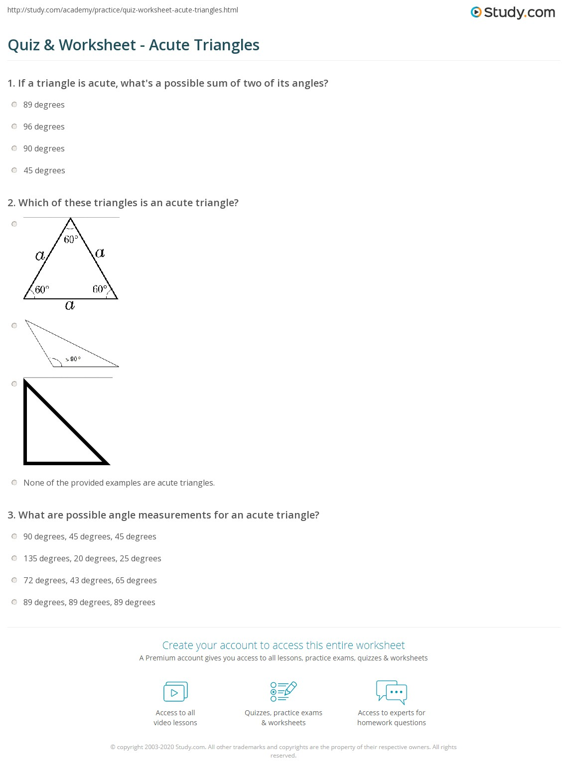 worksheet Degrees In A Triangle Worksheet quiz worksheet acute triangles study com print what is an triangle definition facts example worksheet