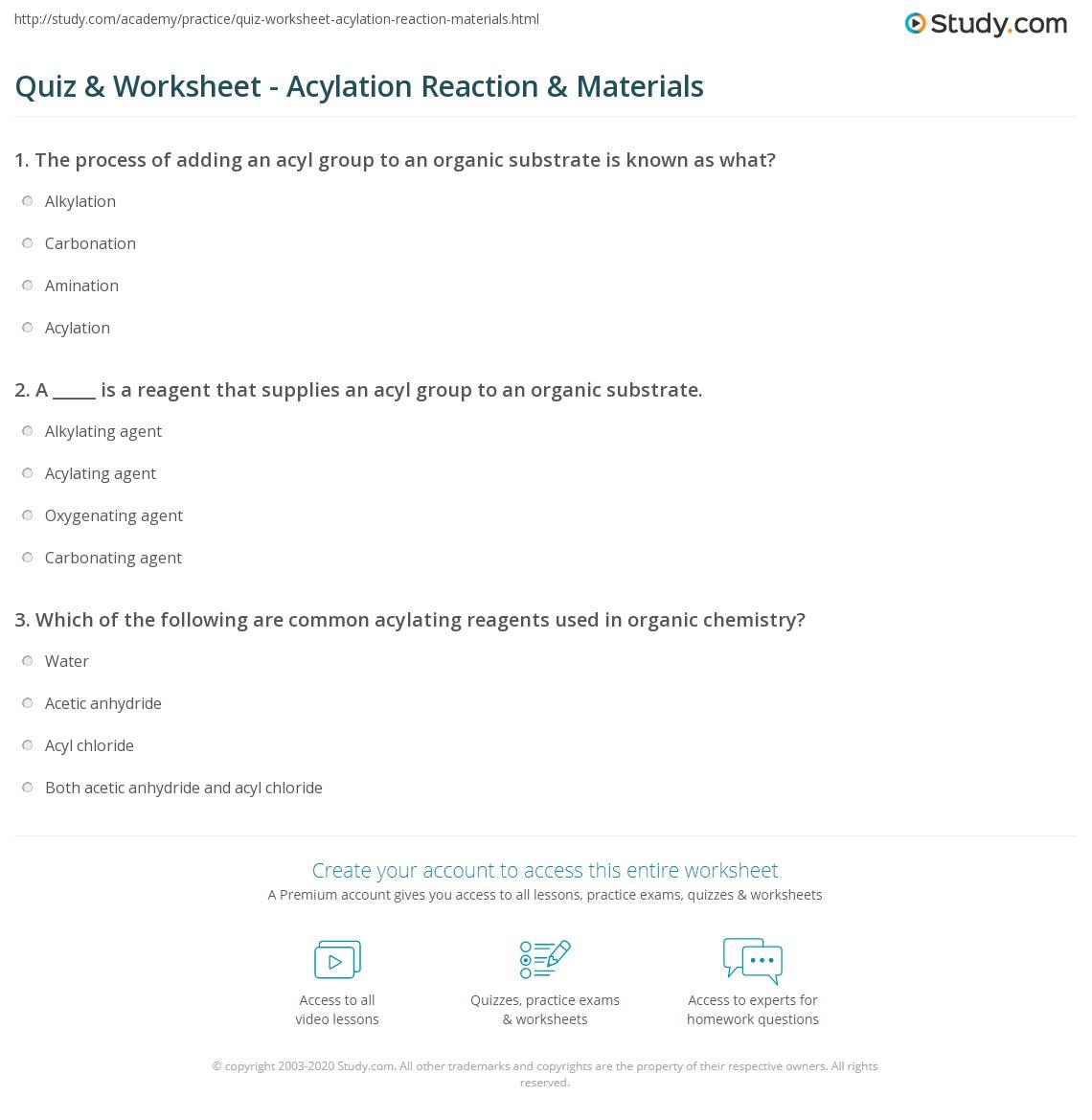 Quiz & Worksheet - Acylation Reaction & Materials | Study com