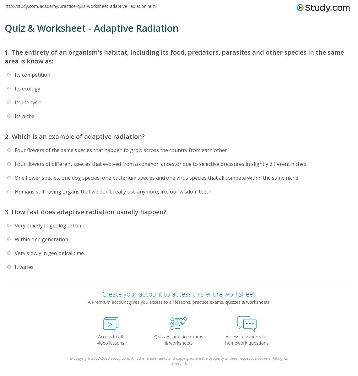Quiz & Worksheet - Adaptive Radiation | Study.com