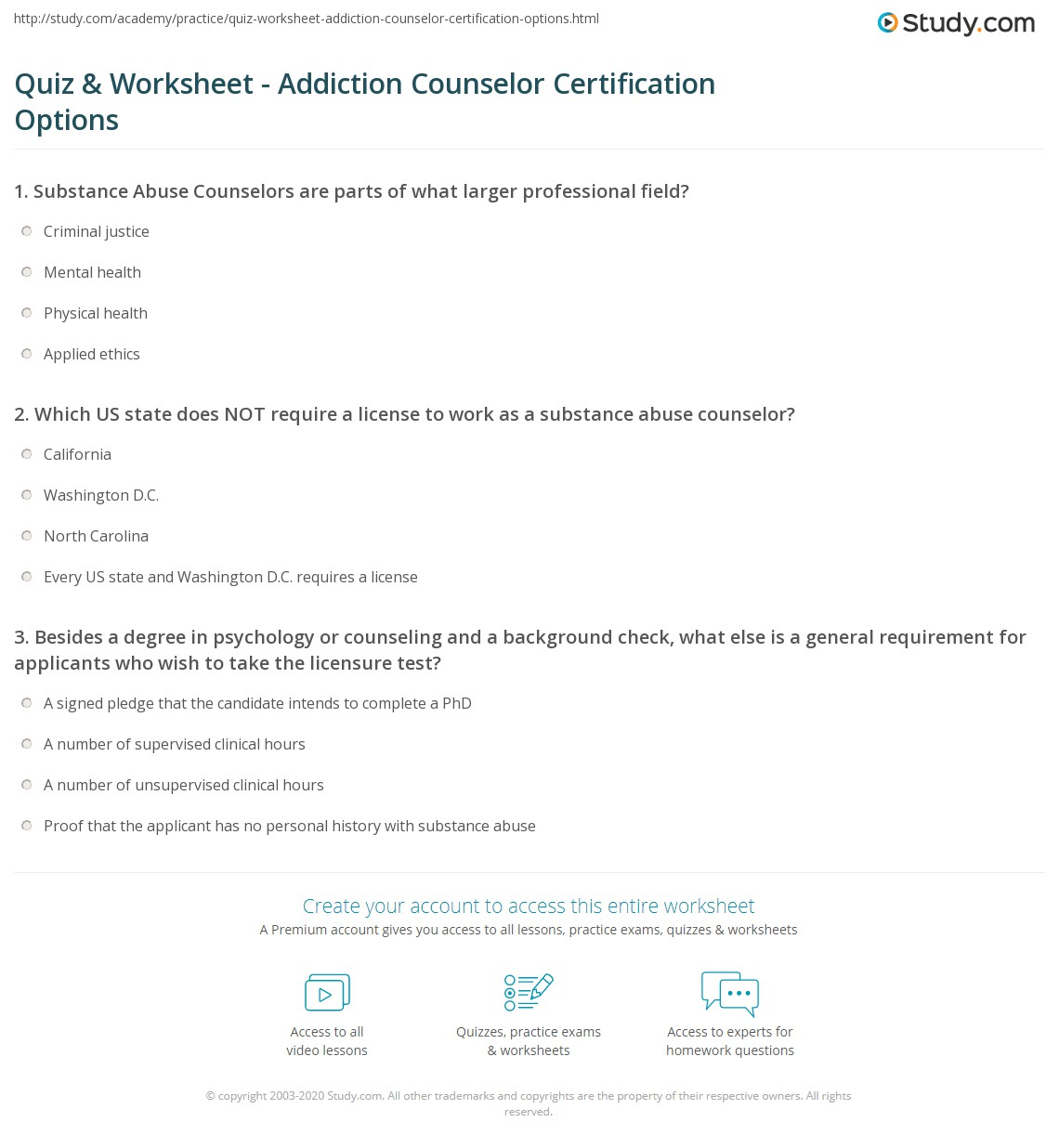 Quiz Worksheet Addiction Counselor Certification Options Study