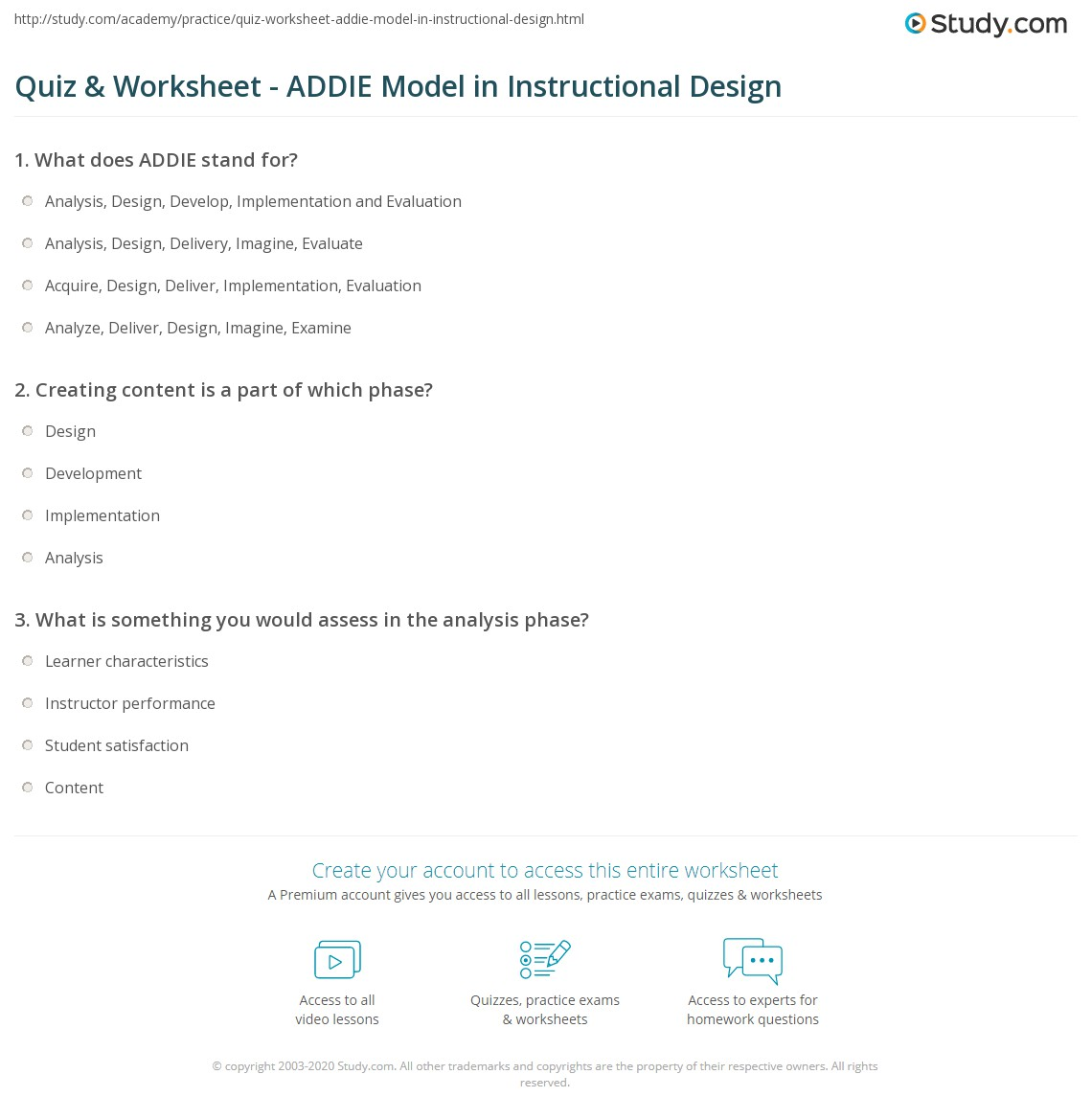 instructional design analysis template - quiz worksheet addie model in instructional design