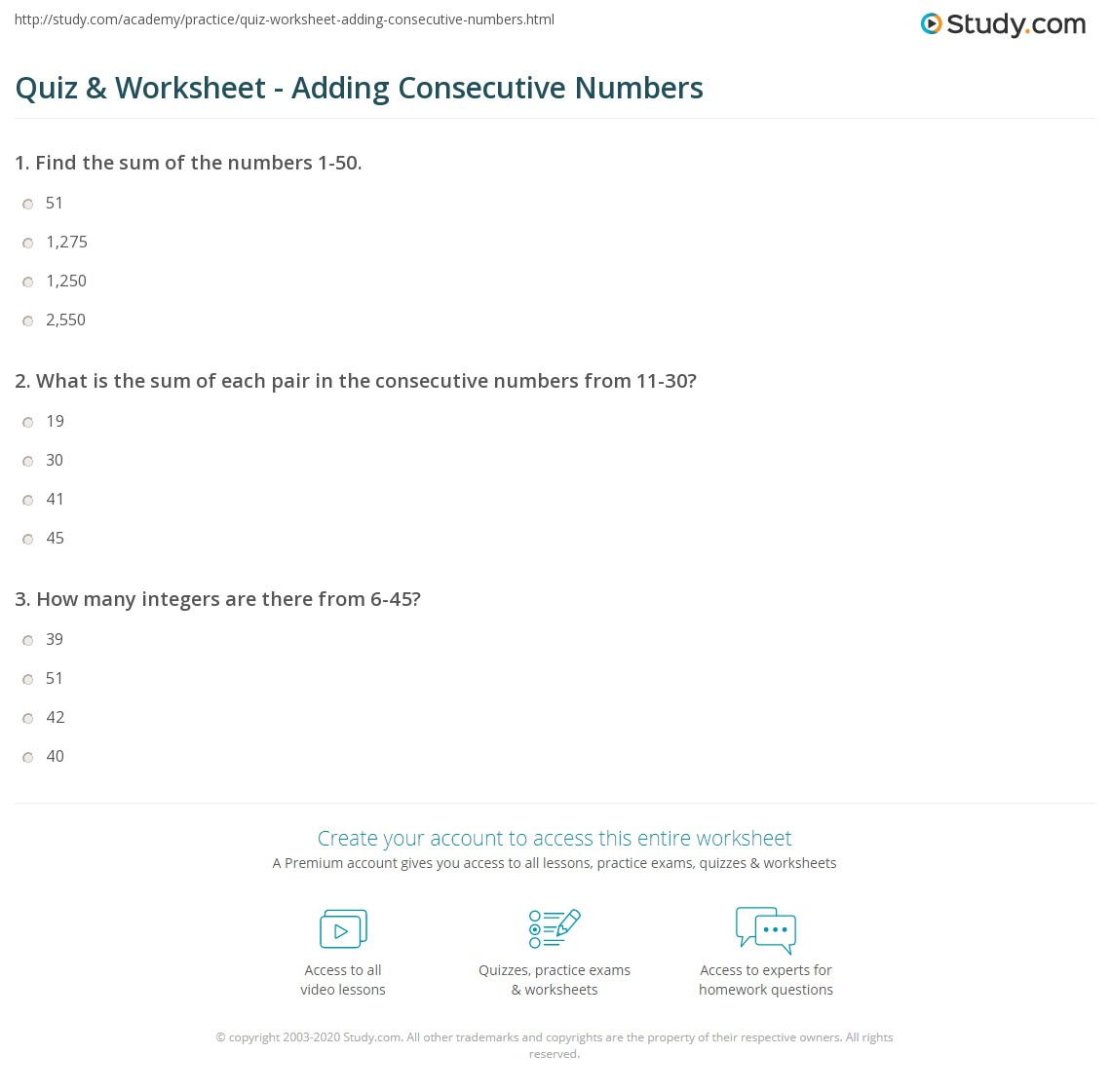 Worksheets Consecutive Integers Worksheet quiz worksheet adding consecutive numbers study com print finding the sum of worksheet