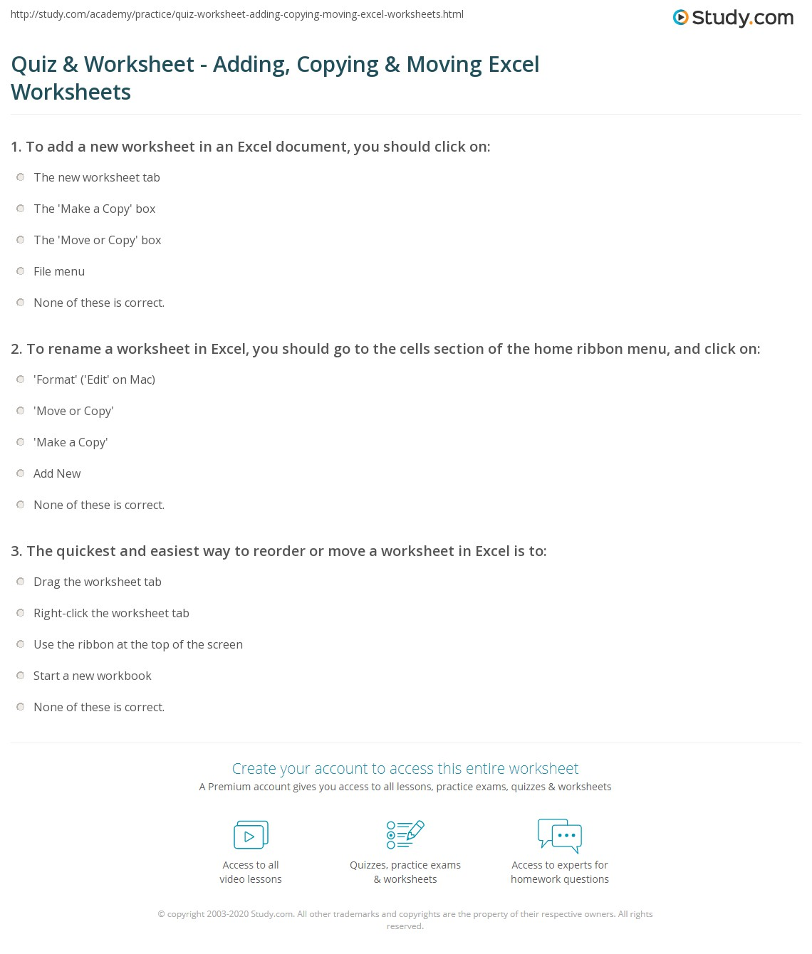 Quiz & Worksheet - Adding, Copying & Moving Excel Worksheets ...