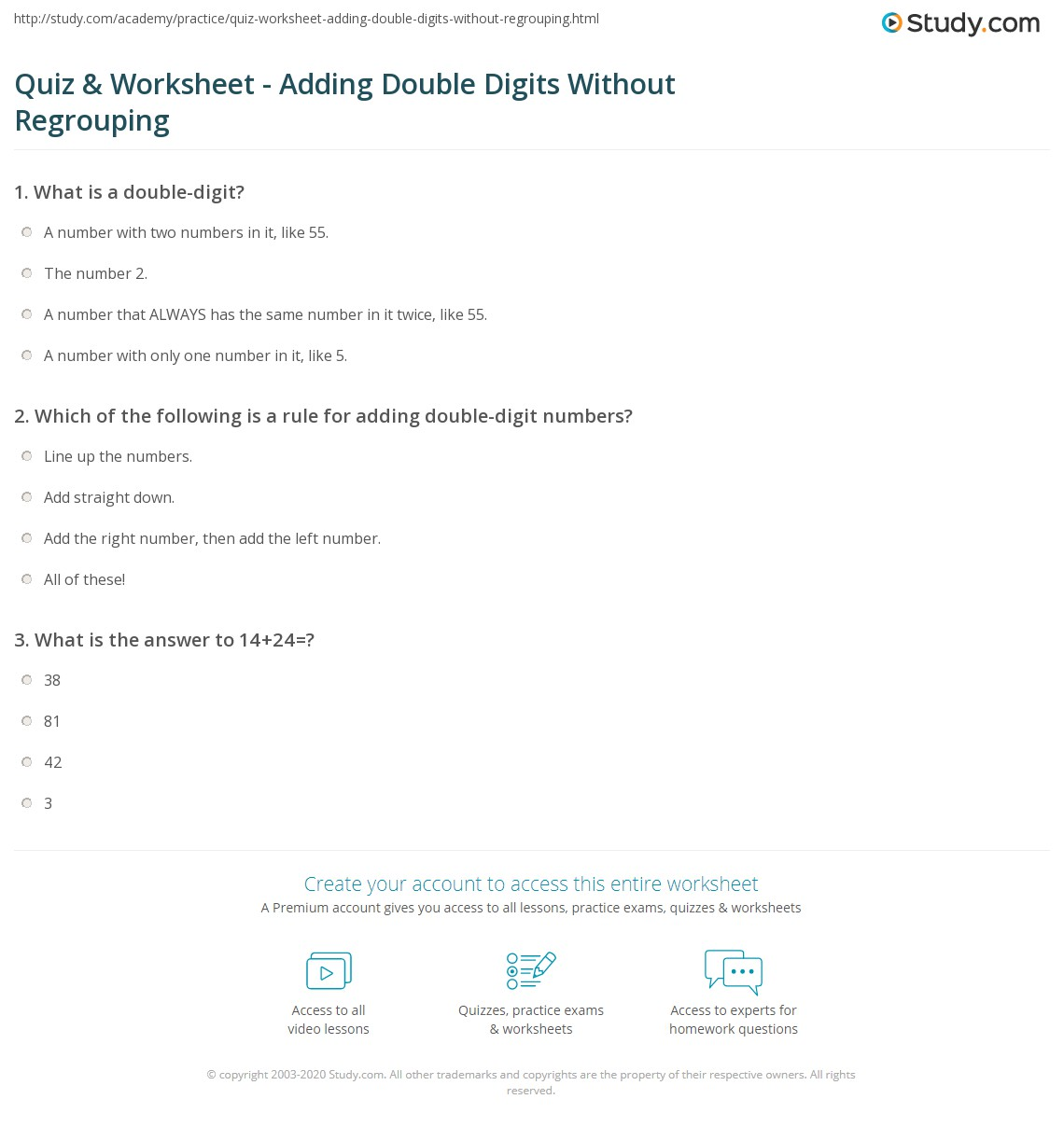 Quiz Worksheet Adding Double Digits Without Regrouping Study