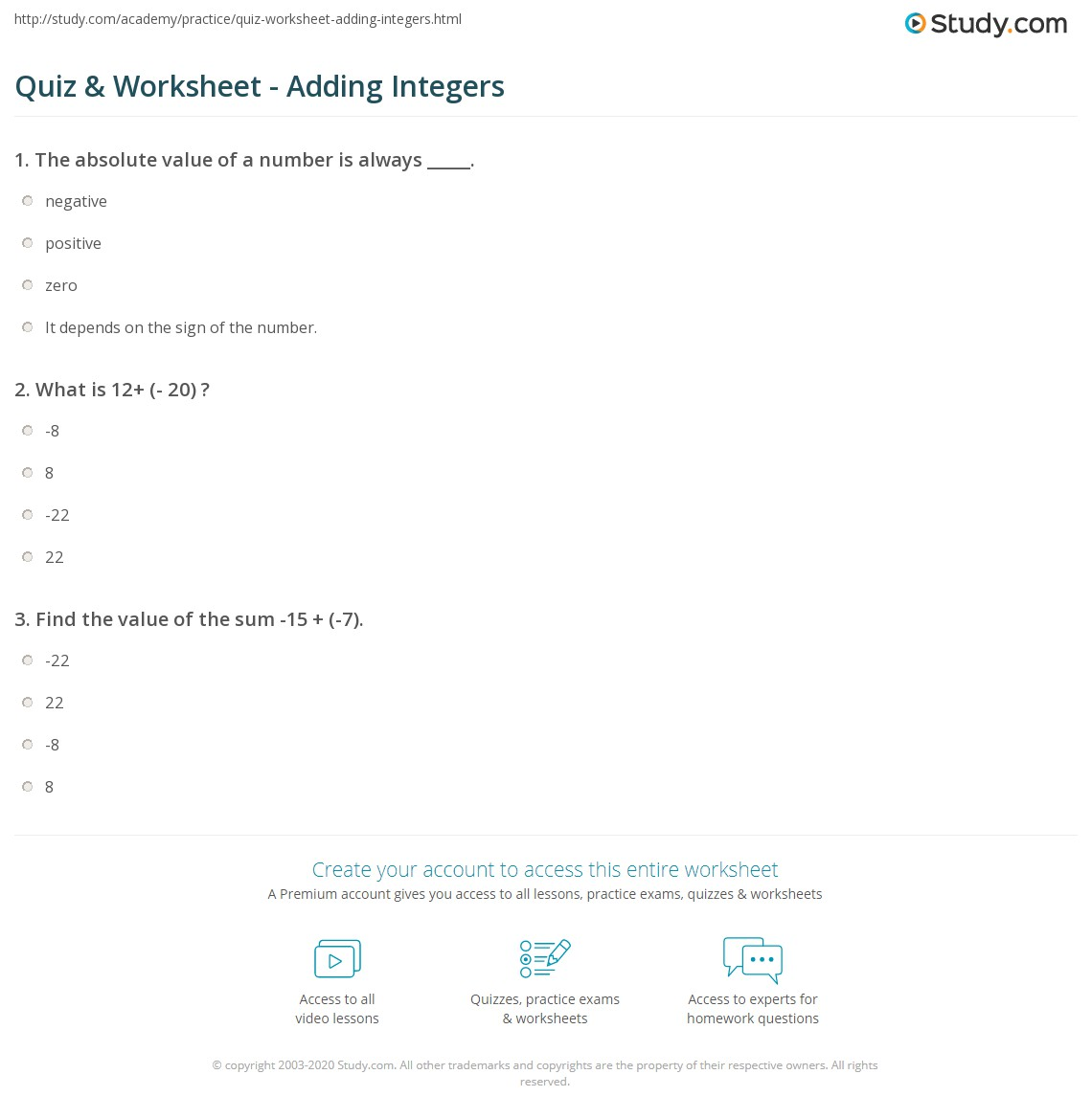worksheet Adding Integers With Different Signs Worksheets quiz worksheet adding integers study com print rules examples worksheet