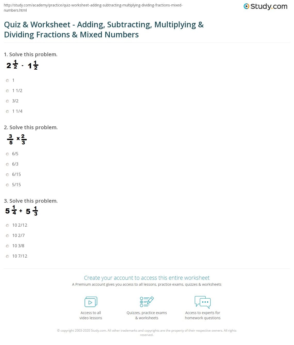 worksheet Adding Fractions Problems quiz worksheet adding subtracting multiplying dividing print add subtract multiply divide fractions mixed numbers worksheet