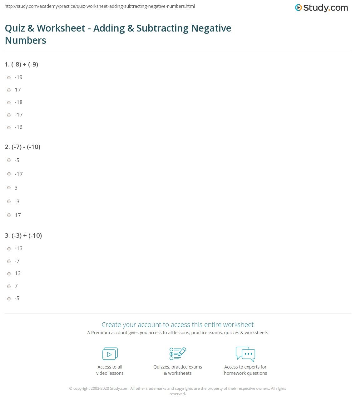print adding subtracting negative numbers worksheet - Adding And Subtracting Negative Numbers Worksheet