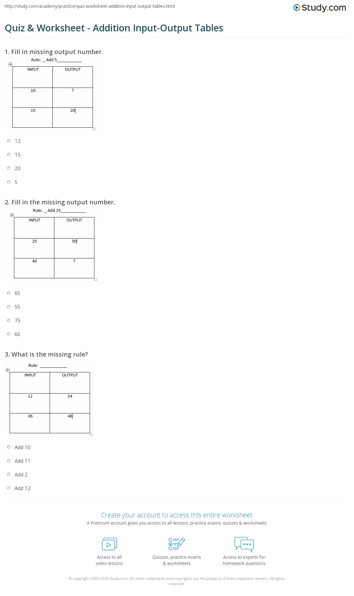 Quiz Worksheet Addition Input Output Tables Study Com